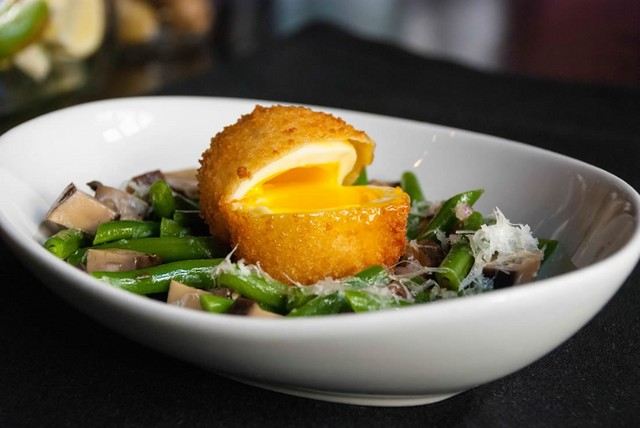 warm-haricot-vert-and-mushroom-salad-with-a-scotch-egg